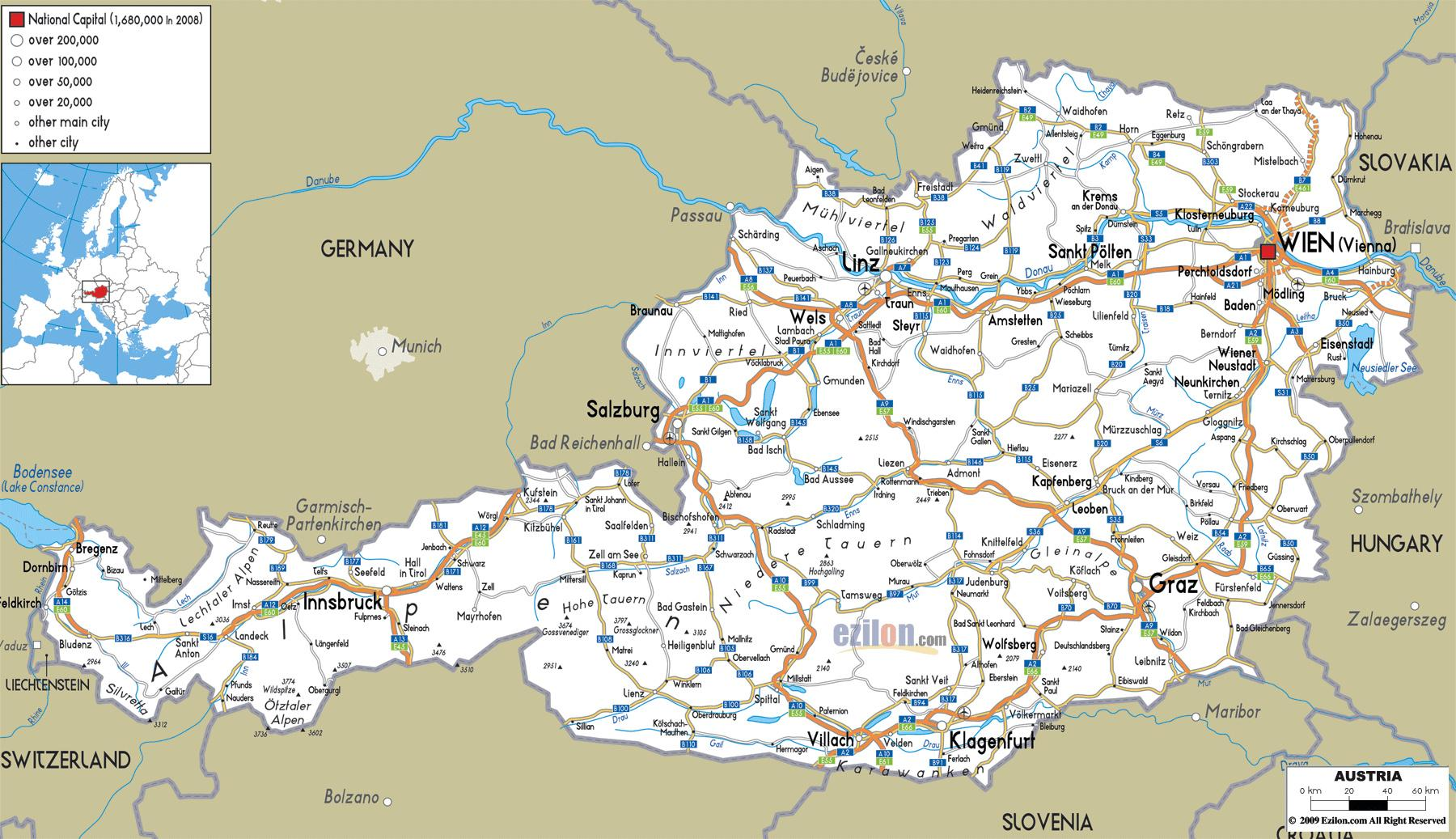 Austria Cities Map Detailed Map Of Austria With Cities Western