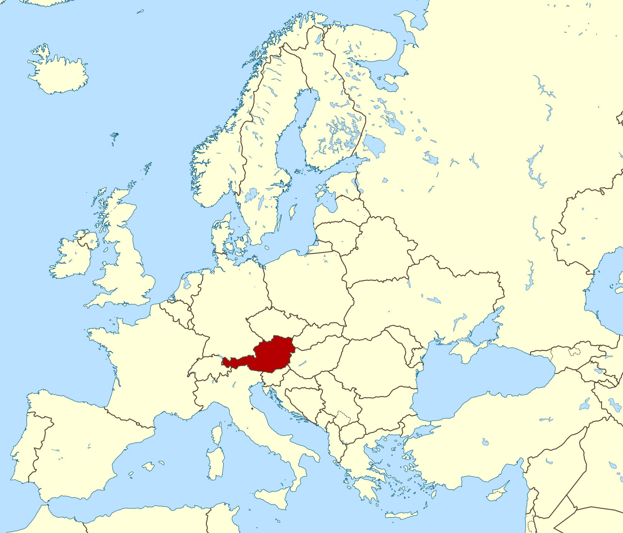 Image of: Austria Location On World Map World Map Showing Austria Western Europe Europe
