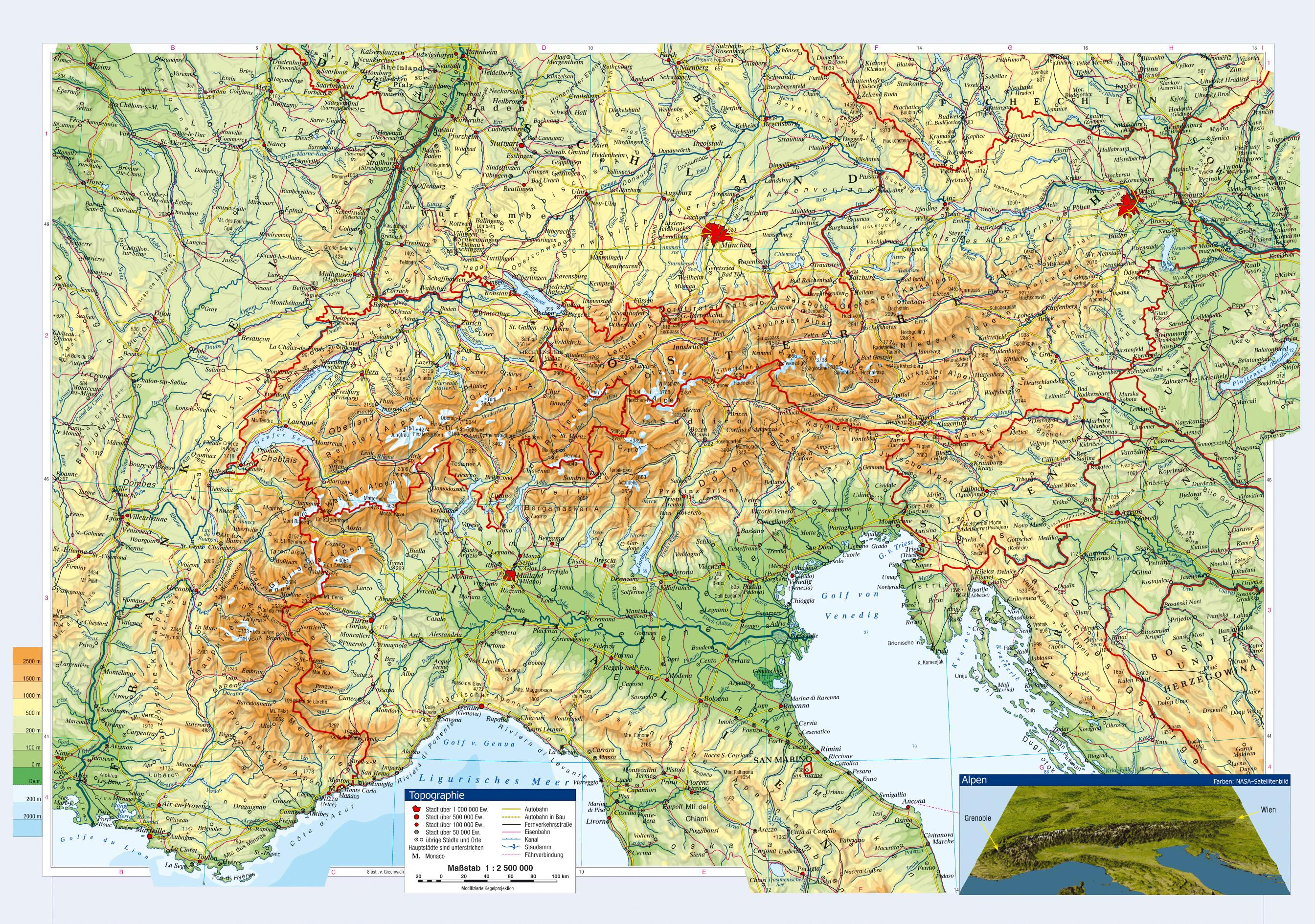 Austria Topographic Map Map Of Austria Topographic Western Europe