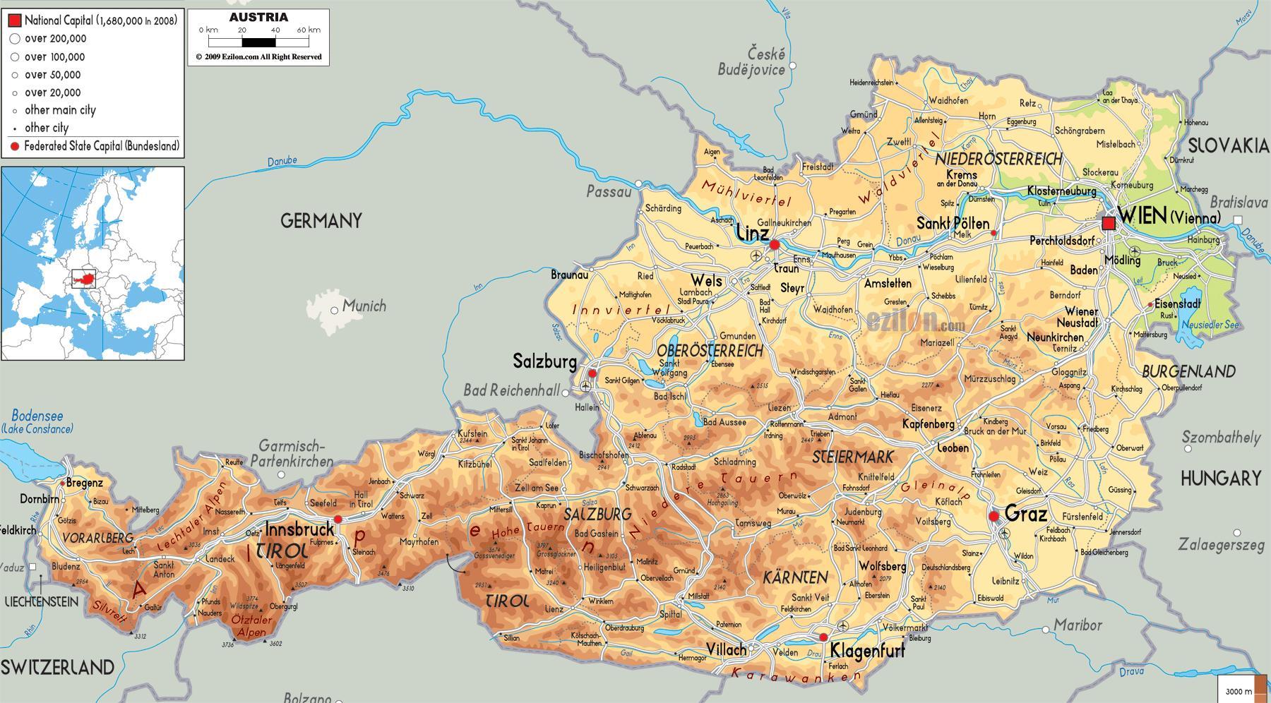 Austrian alps map - Austria mountains map (Western Europe - Europe)