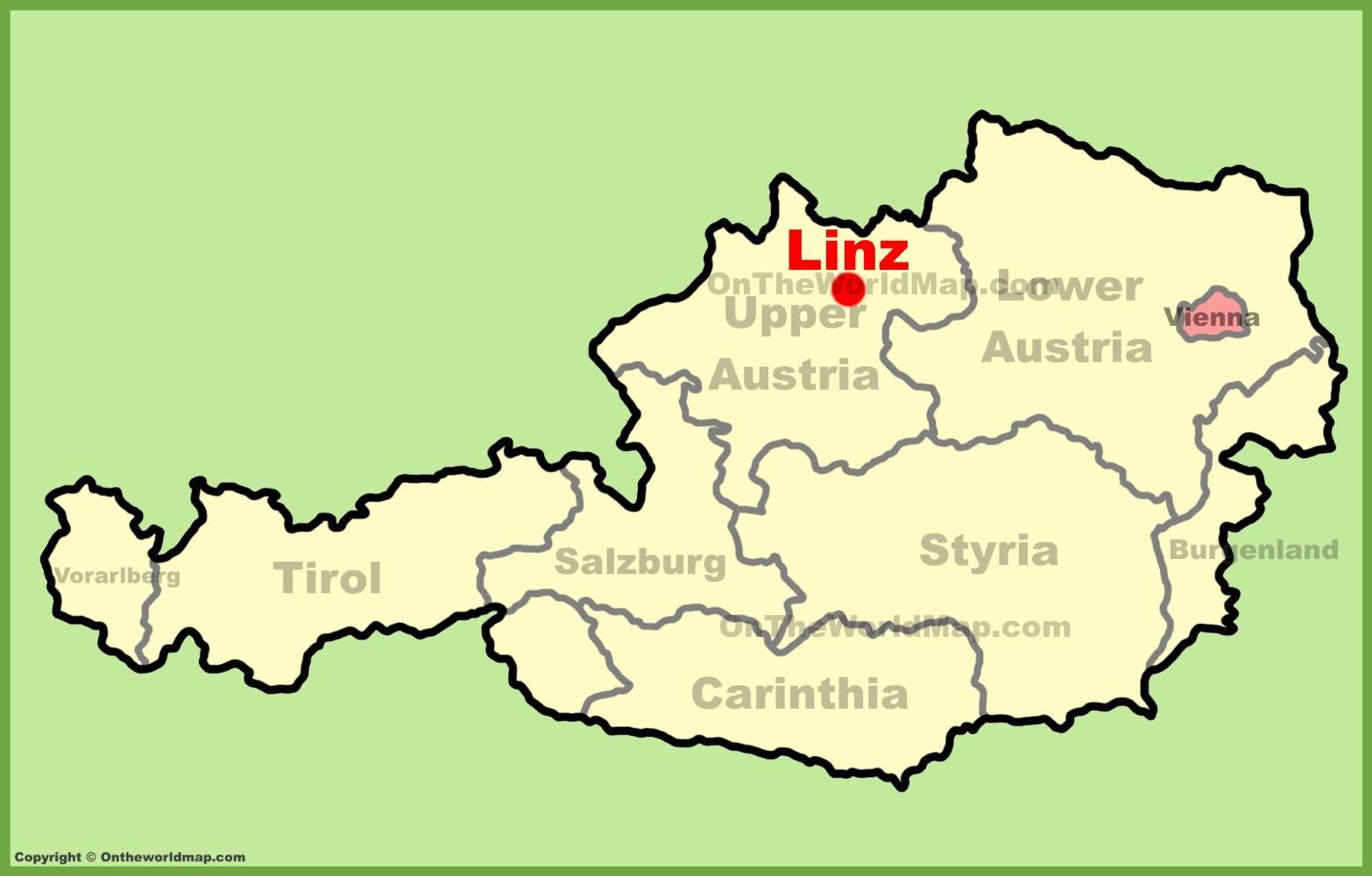 Linz Austria Map Linz austria map   Map of linz austria (Western Europe   Europe)