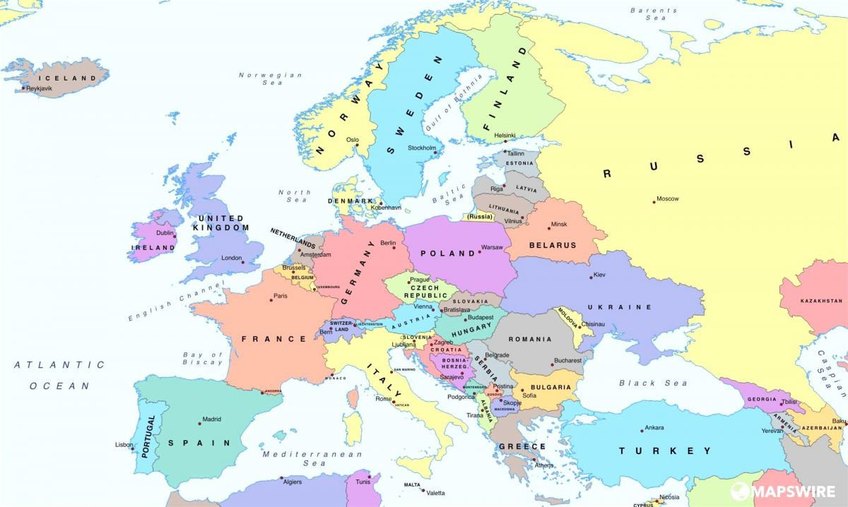 map of europe showing austria