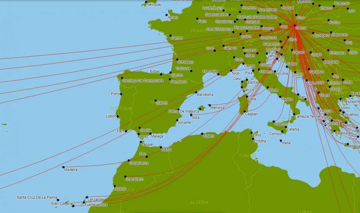 austrian airlines route map europe Austrian airlines route map   Austrian airlines map (Western