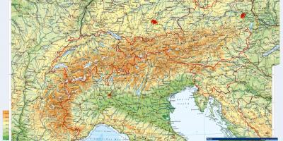 Austrian Alps Map Austria Mountains Map Western Europe Europe